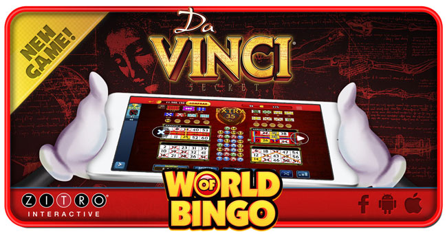 Los 2 Millones de usuarios de World of Bingo de ZITRO ya disponen del popular DA VINCI SECRET
